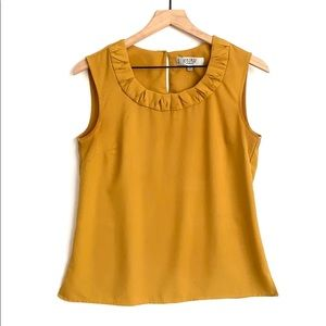 Kasper mustard colored sleeveless Top, Size PM
